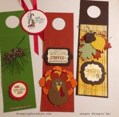 2014 Wine Bottle Tags Directions: Cut card stock 3 inches X 8 1/2 inches.  Score top at 2 1/2 inches and punch a hole with 1 3/8 inch circle punch.  Decorate as desired.