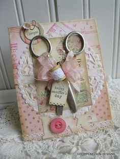 shabby sewing card-  vintage scissors HAPPY MOTHERS DAY card-handmade card