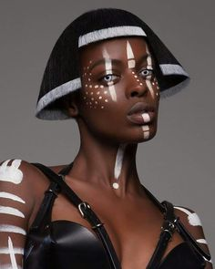 points and graphic on black skin www.makeup-partner.ch (artist unknown)