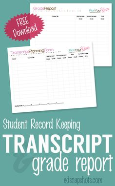 Free Homeschool Planner Transcript and Grade Report. Perfect for homeschool tracking and homeschool transcripts these are part of the Plan You Year free printables for homeschool planning.