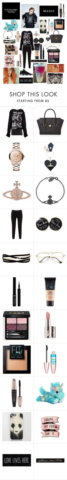 """""""His Girl"""" by snow-queen13 ❤ liked on Polyvore featuring Vivienne Westwood, JunaRose, Kenneth Jay Lane, Giorgio Armani, Maybelline, Gucci, Avon, Forever 21, Percival and DutchCrafters"""