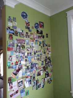"Magnetic ""Wall of Fame."" Three coats of magnetic paint and two coats of chosen colored paint."