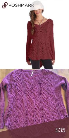 Free People Cross My Heart sweater A Free People high/low sweater. Size small, color maroon. Bust 21, front length 27, back 29 Free People Sweaters V-Necks