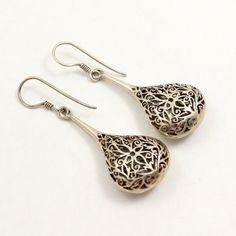 Filigree Teardrop Earrings Sterling Silver Gypsy by mybooms