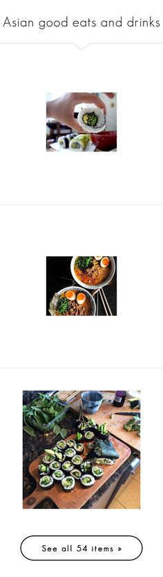 """""""Asian good eats and drinks"""" by mayseoki ❤ liked on Polyvore featuring home, kitchen & dining, kitchen gadgets & tools, serving fork, cake spatula, wooden spatula, wood skewers, wood forks, food and pictures"""