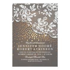 Confetti Wedding Invitations Rustic Wood and Lace Gold Confetti Lights Wedding Card