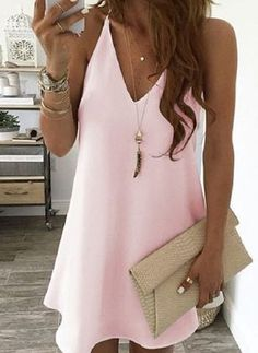 Buy Plus Size Summer Vacation Women V-neck Style Mini Dress Sleeveless Pure Color Dress Beach Dress Casual Loose Dress at Wish - Shopping Made Fun Tie Dye Long Sleeve, Long Sleeve Romper, Casual Dresses, Short Dresses, Sleeveless Outfit, Mona, Vestido Casual, Short Mini Dress, Mini Skirt