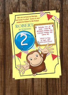 DIY PRINTABLE Curious George Birthday Invitation   Curious George   Balloon…