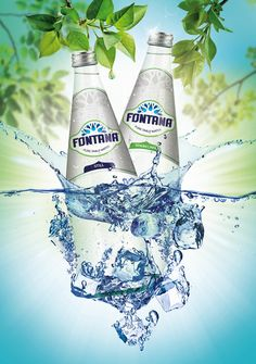 Fontana Pure Table Water on Packaging of the World - Creative Package Design Gallery Water Packaging, Beverage Packaging, Bottle Packaging, Water Poster, Water Bottle Design, Label Design, Package Design, Graphic Design, Mineral Water