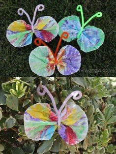 Coffee filter and pipe cleaner butterflies make caterpillars - paper bag chrysalis - swap out with butterfly