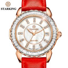 STARKING Brand Women Swiss Imports Quartz Watch Fashion Ladies Red Clock Casual Diamond Leather Strap Vintage Wrist Watch BL0863