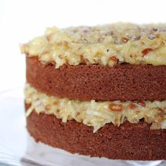 Rich German chocolate cake topped with the crunchy pecans and sweet, flaky coconut was all a girl could ask for on her birthday. Cupcake Recipes, Cupcake Cakes, Dessert Recipes, Desserts, German Chocolate, Chocolate Cake, Diy Cake, Cake Toppings, Pain
