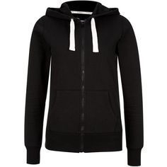 Black Basic Zip Up Hoodie (€18) ❤ liked on Polyvore featuring tops, hoodies, jackets, sweaters, long sleeve tops, long sleeve hoodie, long sleeve hooded sweatshirt, zip up hoodie and hooded pullover