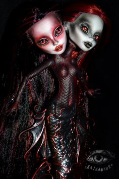 """saijanide: """" And how could I almost forget, this here is Marina & Meredith… Custom Monster High Dolls, Monster Dolls, Monster High Repaint, Custom Dolls, Draculaura, Ever After Dolls, Scary Dolls, Enchanted Doll, Gothic Dolls"""
