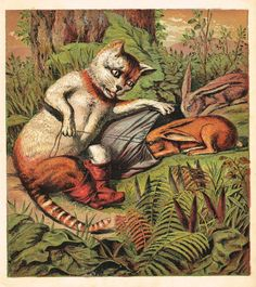 PUSS IN BOOTS FAIRY TALE-CAT BAGS RABBITS IN THE FORREST-Antique Print-1870