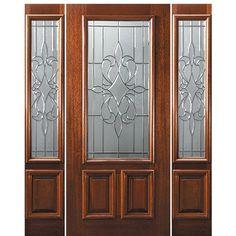 GlassCraft Doors Model DG MAH New Orleans 23L 68-1-2 Wooden Glass Door, Glass Front Door, Wood Entry Doors, Wood Exterior Door, Slab Doors, Window Security Bars, Interior Doors For Sale, Front Doors With Windows, Victorian Door