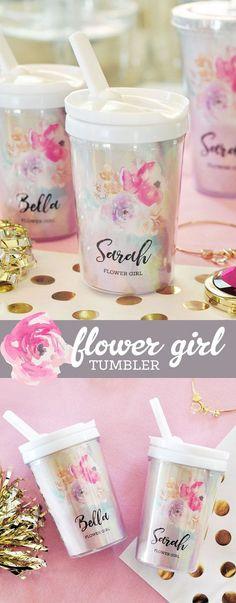Flower Girl Gift Ideas - Flower Girl Tumbler - Flower Girl Cup - Flower Girl Present - Flower Girl Sippy Cup - Little Girl Gifts (EB3158FLG)