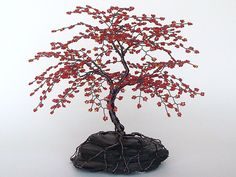 "Red Cherry Blossom Beaded Bonsai Wire Tree Sculpture 8"" - MADE TO ORDER Custom. $120.00, via Etsy."