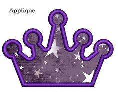 Crown embroidery design. Crown applique