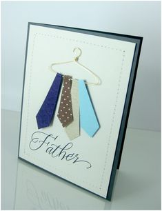 32 Best Homemade Fathers Day Gifts - Happy Father Day Card Father's Da. 32 Best Homemade Fathers Day Gifts - Happy Father Day Card Father's Day Tie Card ~ To make the hanger use w Homemade Fathers Day Gifts, Cool Fathers Day Gifts, Fathers Day Crafts, Fathers Day Cards Handmade, Happy Fathers Day Cards, Homemade Gifts, Cute Cards, Diy Cards, Men's Cards