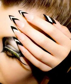 Acrylic Nail Designs Black and white stiletto nails. Chevron stripes, French tips, sassy eye makeup with feathered lashes and mascara rhinestones. Get Nails, Love Nails, Hair And Nails, Fall Nails, Summer Nails, Crazy Nails, Crazy Acrylic Nails, Spring Nails, White Stiletto Nails