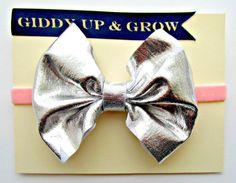 Baby Bow Headband  Silver Metallic Bow with by giddyupandgrow, $17.00