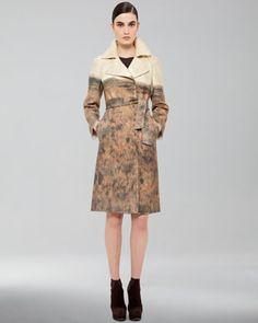 Printed Tie-Waist Coat & Sleeveless Knit Dress by Akris at Bergdorf Goodman.