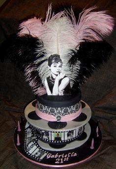 Audrey Hepburn Birthday Cake reminds me of caytlyn Elegant Birthday Cakes, 21st Birthday Cakes, 13th Birthday, Audrey Hepburn Cake, Audrey Hepburn Birthday, Gorgeous Cakes, Pretty Cakes, Amazing Cakes, Paper Cake