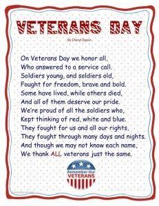 veterans day poems for kindergarten | veterans day poem for preschool | Early Childhood Ideas