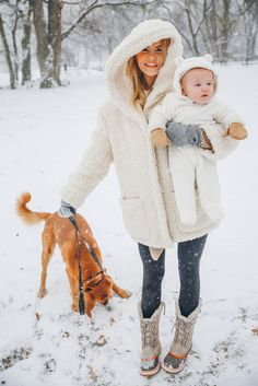 Coat: barefoot blonde blogger shoes jeans make-up gloves hat baby clothing mother and child fuzzy