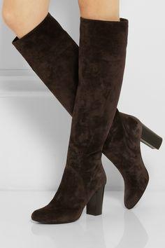 Lanvin|Suede knee boots|NET-A-PORTER.COM