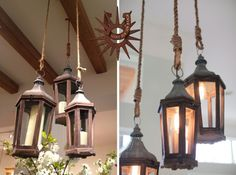 Lucky Old Sun Ranch |   Lantern and Rope Chandelier | Pottery Barn