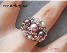 Beaded Ring Tutorial Pattern - Crystal Pearly Metal Ring (RG062) - Beading Jewelry PDF Tutorial (Digital Download)
