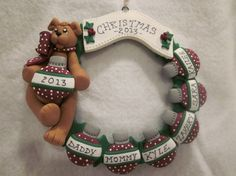 Personalized polymer clay art Christmas Ornament of a Teddy Bear Family Family Christmas Ornaments, Polymer Clay Christmas, Personalized Christmas Ornaments, Xmas, Christmas Ideas, Christmas Crafts, Christmas Decorations, Polymer Clay Ornaments, Sculpey Clay