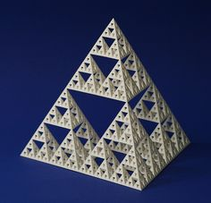 Sierpinski tetrahedron By George Hart for the Museum of Mathematics A classic fractal is the Sierpinski tetrahedron, which is a tetrahedron of Fractal Geometry, Sacred Geometry Art, 2nd Grade Art, Platonic Solid, Fractal Design, Science Art, Art Classroom, Surface Pattern Design, Elementary Art
