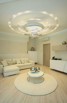 Decorations:How To Decoration Ceiling Designs For Your Interior Dazzling Modern Round False Ceiling Design Feat Cool Lighting Plus Unique Hanging Lamp Over L Shape White Sofa