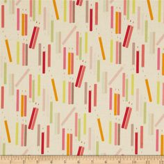 My World of Smiles My Pencils Tea/Sorbet from @fabricdotcom  Designed by De Leon Design Group for Alexander Henry, this fabric is perfect for quilting, apparel and home décor accents. Colors include cream, pink, magenta, orange, sage, brown, and light blue.