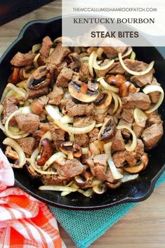 Kentucky Bourbon Steak Bites with Mushrooms and Onions is deliciously easy to make. Who doesn't love a thick juicy strip steak this time of the year? Now add some favorites like sweet Vidalia… paleo crockpot potluck Steak And Mushrooms, Mushroom And Onions, Stuffed Mushrooms, Beef Dishes, Food Dishes, Food Food, Main Dishes, Steak Recipes, Cooking Recipes