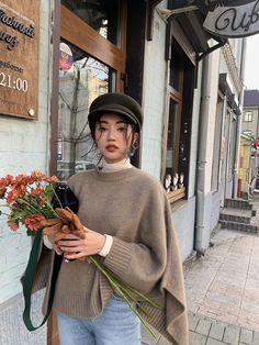 RUGOD Women sweater cloak o neck loose batwing sleeve high waist sweater pullover 2019 new autumn warm elegant sweet split knit Korean Outfits, Mode Outfits, Casual Outfits, Fashion Outfits, Womens Fashion, Fashion Tips, Ladies Fashion, Fashion Ideas, Men Casual