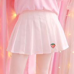 Look super sweet with this cute pleated skirt featuring an embroidered strawberry logo. Red or White Zipper closure Modesty shorts built in SIZE GUIDES - Skirt length: Waist: - Skirt length: Waist: - Skirt length: Waist: sizing, please measure Pastel Fashion, Kawaii Fashion, Cute Fashion, Fashion Outfits, Skirts For Sale, Cute Skirts, Ropa Color Pastel, Looks Kawaii, Cute School Uniforms