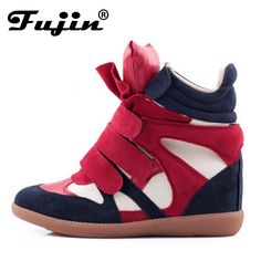 High Top Increased Shoes For Women Genuine Leather Woman Casual Shoe Spring Winter Wedge Shoes Wedge Suede Lady Wedges