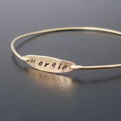 Hand Stamped Bracelet - Bangle Gold, Custom Name Bracelet, Personalized Name Bracelet, Custom Name Jewelry, Hand Stamped Name Jewelry