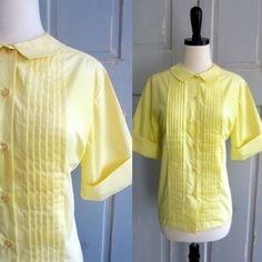 1960s Yellow Cotton Pin Tuck Blouse $26.00