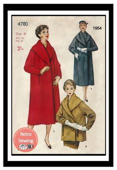 Coat Patterns, Vintage Sewing Patterns, Legal Letter, Shirtwaist Dress, Rockabilly Pin Up, Wrap Coat, Collar Styles, Welt Pocket, Step By Step Instructions
