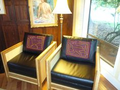 Two chairs. Sewed in a mola from San Blas Islands. Designed and Sewn by Chris