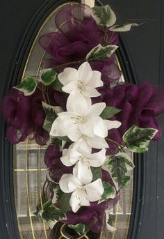 Deco Mesh Cross Wreath- Memorialize loved ones or use to decorate for Christmas or Easter by tania