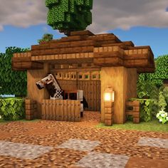 A YouTube video on how to build a small horse stable on Minecraft! Minecraft World, Minecraft House Plans, Minecraft Farm, Minecraft Mansion, Minecraft Houses Survival, Cute Minecraft Houses, Minecraft House Tutorials, Minecraft House Designs, Minecraft Construction