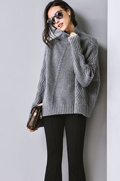 Cozy High Collar Long Sleeve L
