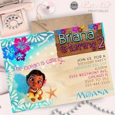 Moana Invitation Printable, Moana Birthday Party