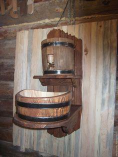 Купить рукомойник дачный - коричневый, рукомойник, умывальник, для бани, гигиена, лиственница, бондарные изделия, кадка